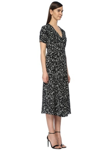 V Yaka Kısa Kollu Çiçekli Elbise-Academia